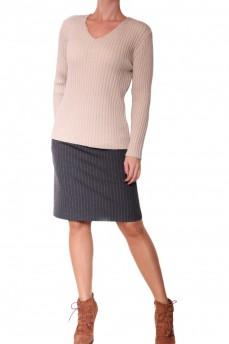 Пуловер цвета шампань из тонкой шерсти вязка резинка