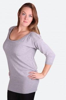 Пуловер светло-серый с вязаным кружевом