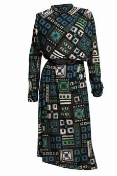 Шерстяное платье кимоно зеленая геометрия