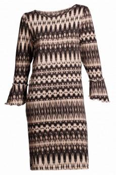 Бежевое шерстяное платье с геометрическим рисунком