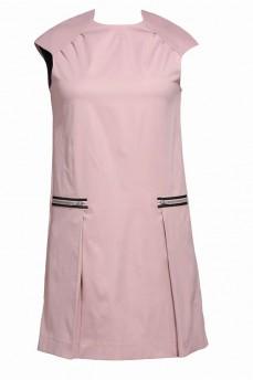 Розовое платье из котона  карман  и кокетка