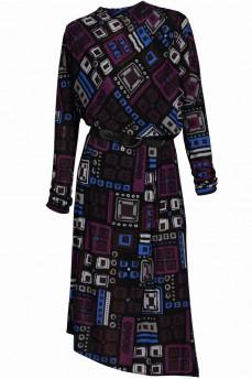 Шерстяное платье кимоно фиолетовая геометрия