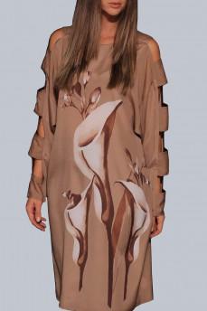 Платье рисунок каллы рукав длинный