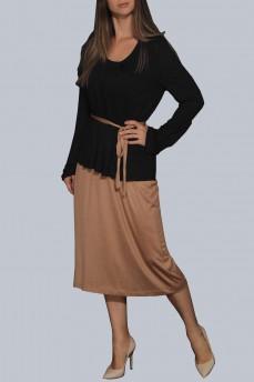 Черное трикотаж модал платье бежевый низ