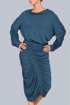 Бирюзовый костюм драпированная юбка