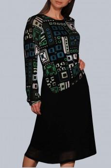 Платье шерстяное геометрия зеленое  фигурный пояс