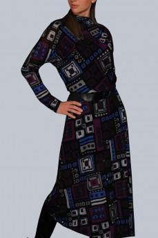 Платье шерстяное кимоно фиолетовая геометрия