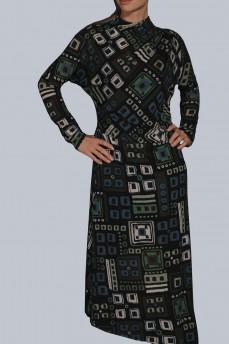 Платье кимоно зеленая геометрия шерстяное