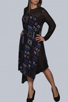 Платье асимметрия фиолетовая геометрия шерстяное