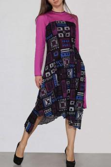 Асимметричное шерстяное платье геометрия фуксия