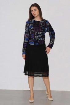 Платье тонкая шрсть фиолетовое геометрия фигурный пояс