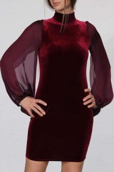 Платье силуэтное велюровое бордовое