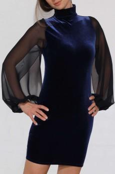 Платье велюровое темно-синее с воротником-стойка