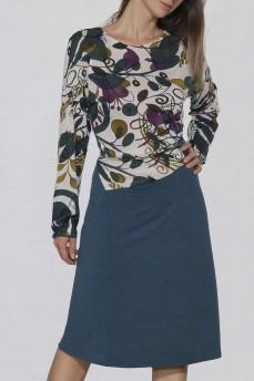 Платье шерсть фигурный пояс бирюза