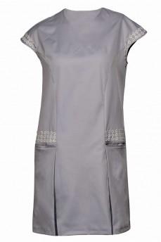 Голубое платье из котона с макраме