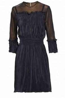 Нарядное платье синее гафре с сеткой короткое