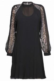 Шелковое платье клинья леопард