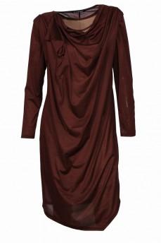 Коричневое платье двойка асимметрия