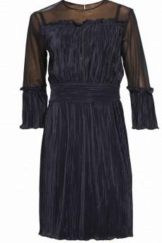 Нарядное синее платье гафре с сеткой миди
