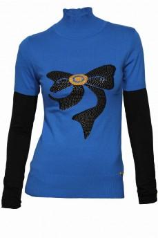 Синяя водолазка с воротником стойка и укороченным рукавом