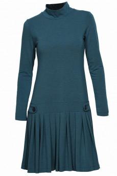 Бирюзовое платье складка заниженная талия