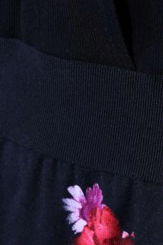 Трикотажное черное платье юбка цветы