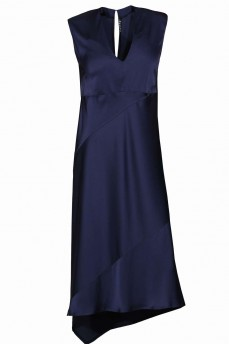 Синее шелковое платье асимметрия