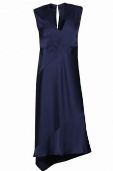 Шелковое платье асимметрия синее
