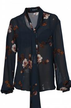Шелковая блуза с бантом принт цветы