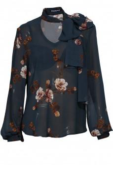 Синяя шелковая блуза с бантом принт цветы