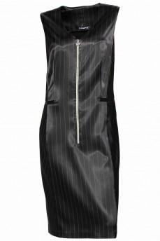 Черное платье в полоску с молнией атлас