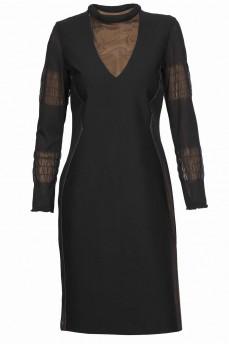 Платье черное джерси обманка с сеткой