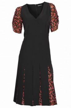 Платье с клиньями красные розы черное
