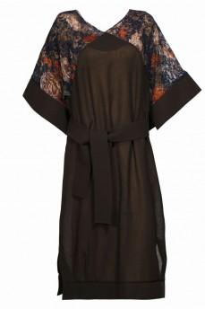 Коричневое платье кимоно шерсть гипюр