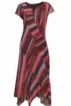Платье асимметрия сиреневые полосы сетка