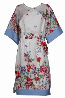 Платье кимоно маркизет принт цветы