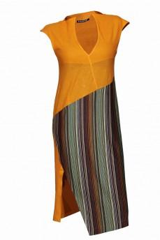 Комбинированное платье  желтое мелкая полоска