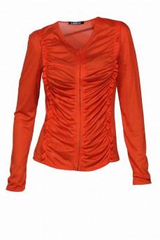 Блуза с драпировкой оранжевая