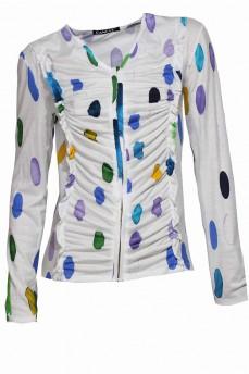 Белая блуза с драпировкой  крючки