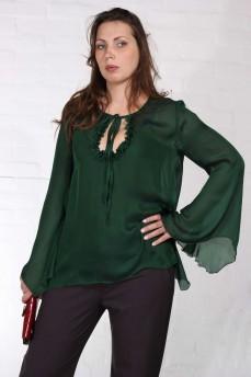 Шелковая блуза зеленая рукав колокольчик