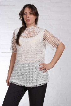 Молочная блуза туника рукав  макраме модал
