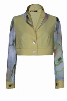 Короткий пиджак с шифоновым рукавом