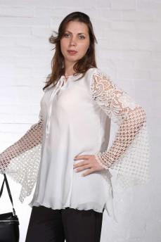 Шелковая блуза рукав  макраме колокольчик молочная