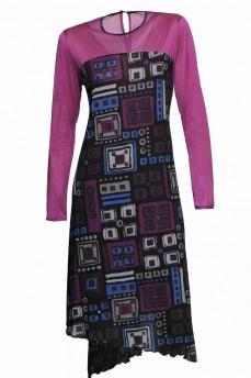 Шерстяное платье геометрия фуксия асимметрия