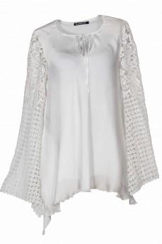 Блуза рукав  макраме колокольчик шелковая молочная