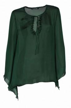 Блуза зеленая рукав колокольчик шелковая