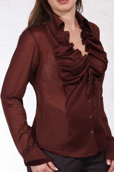 Блуза  с воланом коричневая
