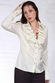 Шелковая блуза  с воланом кремовая