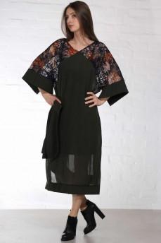 Платье кимоно шерсть гипюр зеленое