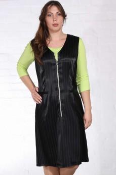 Платье черное в полоску с молнией атлас